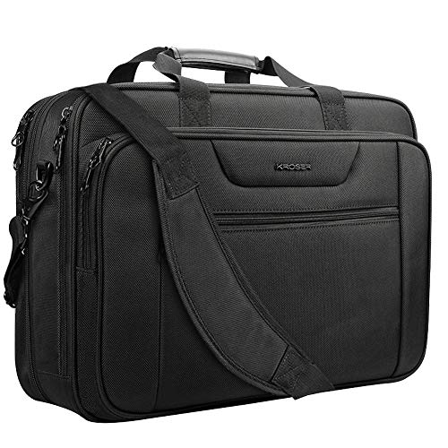 KROSER 18.5' Laptop Bag XXL Laptop Briefcase Fits Up To 18 Inch Laptop Water-Repellent Light Weight Gaming Computer Bag Shoulder Bag Expandable Capacity For Travel/Business/School/Men-Black