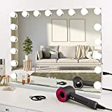 COOLJEEN Large Hollywood Makeup Mirror 18 LED Bulbs Vanity Mirror with Protective Power Outlet USB Charging Port 3 Color Lighting Modes Wall Mounted or Standing (White)