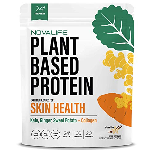 NovaLife Organic 24g Vanilla Plant Protein Powder with Collagen - 1.65 lbs, Low Carb Superfood, Vegan Protein, Keto, Soy Free, Vegetarian, Non-GMO, Lactose Free, Gluten Free and no Sugar Added