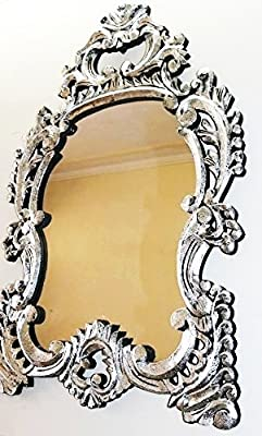 Monica Silver Foil Finish Carved Big Size Wall Mirror Frame
