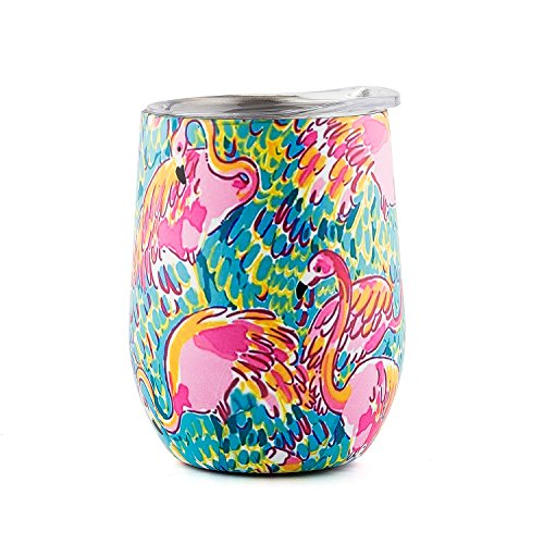 DOKIO Flamingo Paint 12 oz Wine Cup Stainless Steel Double Wall Vacuum Insulated With Crystal Clear Lid Great For Ice And Hot Drink Mug Coffee Champagne Cocktails For Outdoors