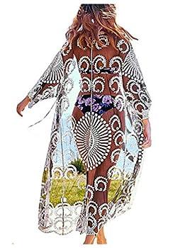 Wander Agio Womens Bikini Loose Cover Ups Beach Casual Dress Coverup Swimsuits Long Cardigan Fishnet Embroider Flower Black 21