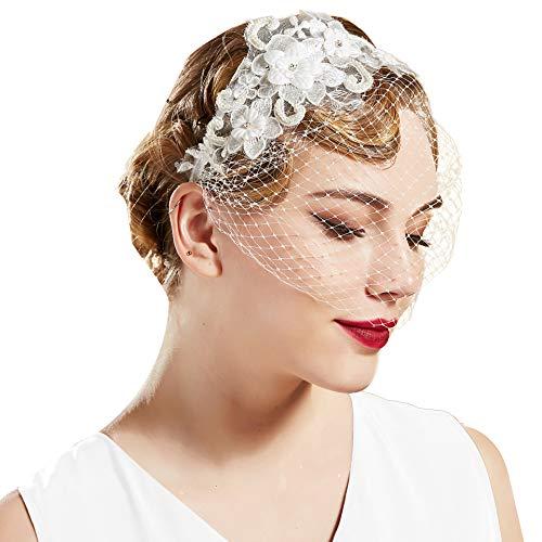 BABEYOND Damen 1920s Haarreif Elegant Blumen Muster Hochzeit Braut Fascinator Schleier Cocktail Party Stirnband Damen Halloween Fasching Kostüm Accessoires (Weiß)