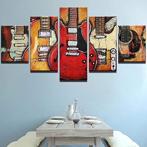 TXFMT muurfoto, decoratie, canvas, handgemaakt, modern, canvas, HD-canvas, kunstdruk, wand, kunst, afbeeldingen, woonkamer, decoratie, 5-delig, abstract, gitaar, muziek, kunstdruk op canvas 200*100CM