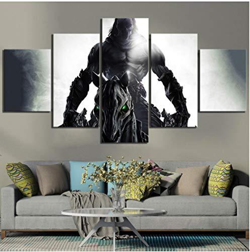 Impresiones Imágenes Decoración del hogar Arte de la pared 5 Panel Darksiders 2 Juego Death Knight Cartel modular Pintura abstracta sobre lienzo sin marco 30x40x2 30x60x2 30x80cm
