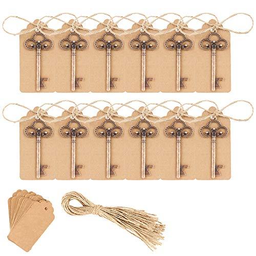 Apribottiglie a forma di chiave, per matrimonio, stile antico – apribottiglie + etichette per regali per ospiti, feste, banchetti, bar, zuppe, retro antiruggine (vecchio rame, 50 pezzi)
