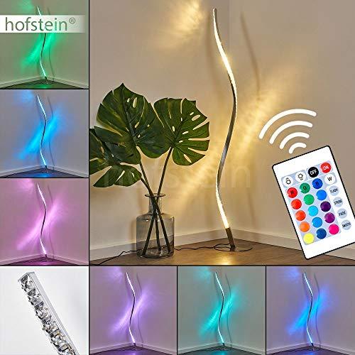 LED Stehlampe Saginaw, dimmbare Stehleuchte aus Metall in Nickel-matt, 9 Watt, 700 Lumen, Lichtfarbe 3000 Kelvin (warmweiß), Standleuchte m. RGB Farbwechsler, Fernbedienung u. Glitzereffekt