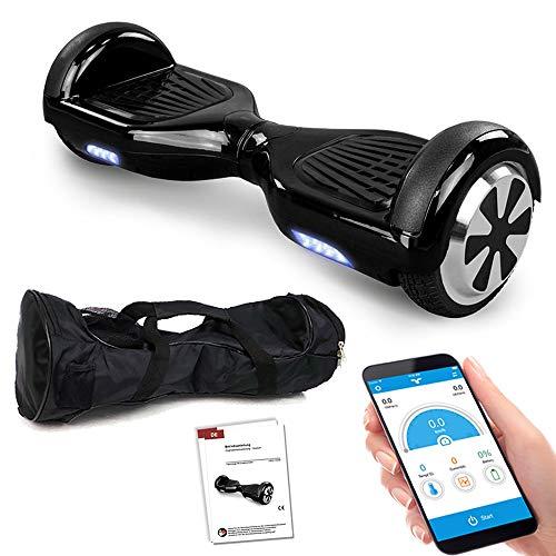 Hoverboard GPX-01-6,5 Zoll Motion V.5 mit App, inkl. Tragetasche, Dual Motor, Bluetooth 4.0, Lautsprecher, Kinder Sicherheitsmodus, Self Elektro Balance Scooter, 600 Watt (schwarz)