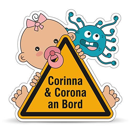 Betriebsausstattung24® Corinna & Corona an Bord Auto-Aufkleber   Baby on Board   Sticker für Autos, Laptops, Notebook u.v.m. (Folie, 12,1 x 12,0 cm)