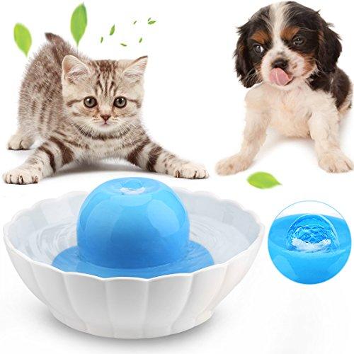 Keramische drinkbak voor kat/honden, geluidsarm, 2,1 l, automatische waterdispenser met dubbel filter voor vaatwasser, veilig, blauw en wit, Bebedero, Wit en blauw
