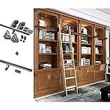 binario per porta scorrevole kit libreria di scale da fienile scorrevoli nere rustiche, set completo di binari per ferramenta (senza scala), binario a tubo tondo per scala mobile per interni / soppalc