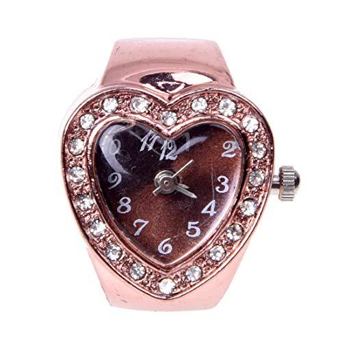 Heyb - Anillo con reloj de corazón de metal con brillantes, oro rosa, 20 mm, elástico