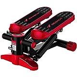 HSJSY Mini Stepper Fitness de apartamento con expositor, cordón de sujeción, cojín, varilla hidráulica multibras bidireccional, silencioso, rojo