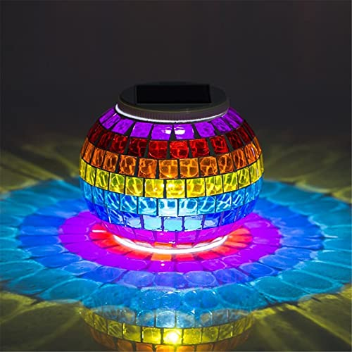 DAOGU Solar Powered Mosaic Glass Ball Garden Lights,Color Changing Solar Night Lights,Waterproof Rechargeable Solar Table Lights Lamp for Indoor or Outdoor Decorations (Multicolor)