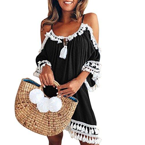 Kleid Kolylong® Damen Elegant Trägerloses Quaste Kurzarm Kleid Retro Schulterfrei Rückenfrei Kleider Kurz Boho Kleid T- Shirt Kleid Mini Sommerkleid Strandkleid Party Abendkleid (XL, Schwarz)