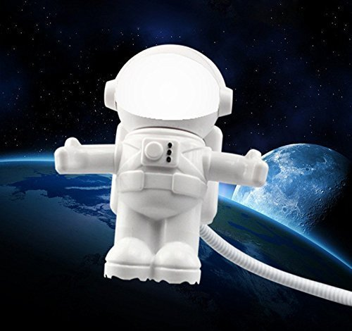 Intsun - Mini lampada da tavolo LED USB, a forma di astronauta, per computer, stelo flessibile, luce notturna, colore: bianco