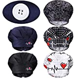 Geyoga 5 Pieces Adjustable Bouffant Buttons Caps Printed Tie Back Hats with Sweatband Hat for Women Men, 5 Styles (Heart Pattern)