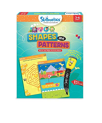 Skillmatics Educational Game: Shapes and Patterns (3-6 Years), Erasable and Reusable Activity Mats, Travel Friendly Toy with Dry Erase Marker, Learning Tools for Boys and...