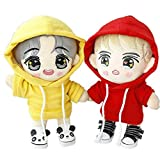 VogueMing Kpop Wanna ONE EXO Bangtan Boy Doll's Clothes Plush Doll's Hoodie Coat Leisure Outfit Best Gift (Only White Sweater, for 20cm Dolls)
