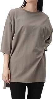 Tシャツ 半袖 五分袖 半袖Tシャツ クルーネック レディース UNDERWRAPS USAコットン 刺繍Tシャツ ゆったり リラックス オーバーサイズ 64065-1/2MH