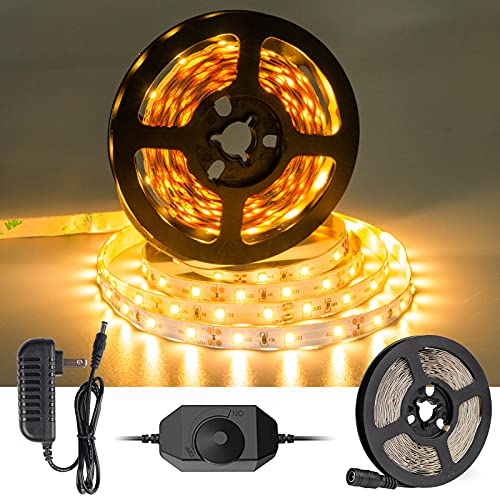 Warm White LED Strip Light, Dimmable 12 Volt LED Light Strip, 3000K LED Tape Lighting with Dimmer, Cuttable, for Bedroom, Kitchen, Closet, Under Cabinet, Vanity Mirror, Indoor Only, CT Capetronix