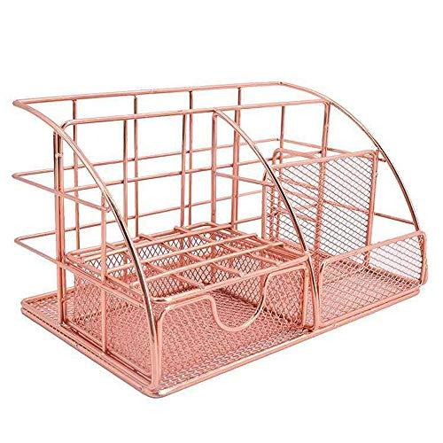 Accessori da scrivania da ufficio in oro rosa, tutto in uno in rete per ufficio, accessori da scrivania multifunzionali, accessori per ufficio, scuola, casa