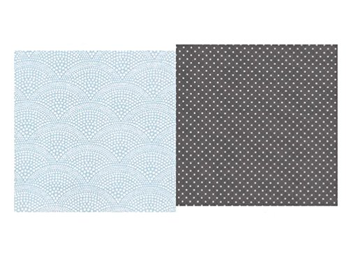 A.U Maison - Kissen mit Füllung, Punkte dunkelgrau/ Muster Türkis, 50x50 cm