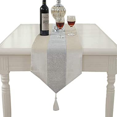 FQTANJU 13inch x 72inch Table Runner with Sequined Rhinestones and Tassels (Beige)