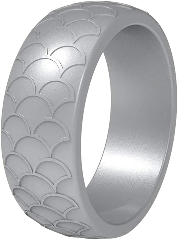 Jude Jewelers 9mm Fish Scale Wave Shape Silicone Wedding Ring Fishing Sports Gym Anniversary Statement Band Ring