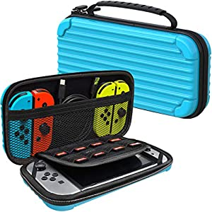 MEQI Nintendo Switch キャリングケース 保護 ハードシェル スリム 旅行用 キャリーケース 10 ゲーム カートリッジ ホルダー可搬式 キャリーケース ポーチ Nintendo Switch コンソールとアクセサリー用 ブルー