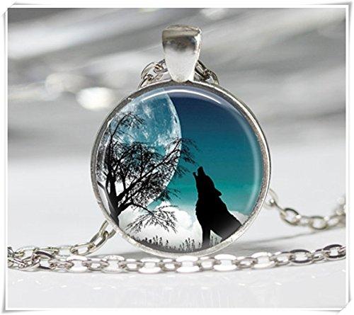 Collar de lobo y luna, colgante, lobo, cúpula de cristal, hecho a mano