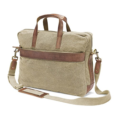 "DRAKENSBERG Kimberley Briefcase, tracolla, borsa per PC portatile 17"", borse porta PC, cartella, tela, canvas, pelle, vintage, lussuosamente, sabbia, marrone"