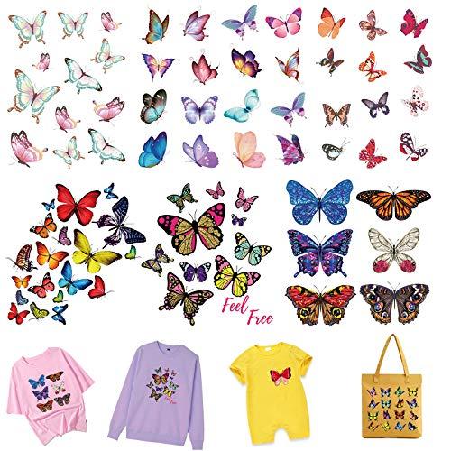 MWOOT Bunt Schmetterling Bügelbilder, 6-Set Thermotransfer Bügelbild für Damen Mädchen Kleidung Taschen Hosen T-Shirt Hut DIY Deko, Wärmeübertragung Sticker, Butterfly Thermal Transfer Iron On Patches