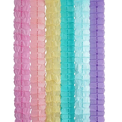 3D Four Leaf Flower Tissue Paper Hanging Streamers for All Party Events, Photo Garland Backdrop, 12-Pack (Unicorn Pastel)