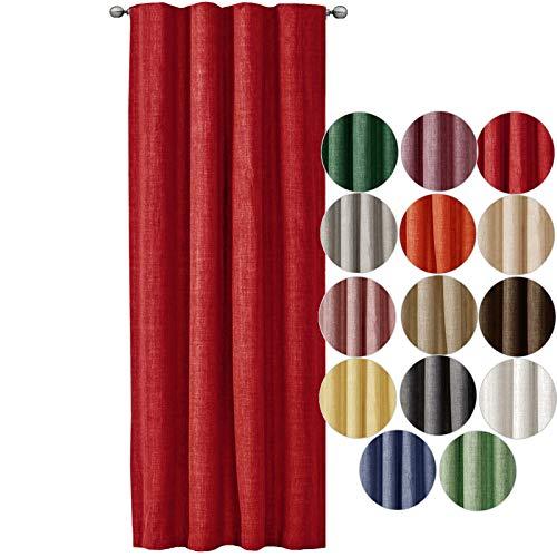 JEMIDI Dekoschal Leinen Look mit Gardinenband Kräuselband 140cm x 245cm Blickdicht Schal Gardine Store Fenster Rot