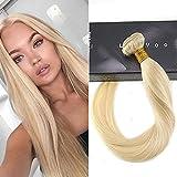 LaaVoo 12 Zoll Remy Weave on Human Hair Bundles Gebleichtes Blond Haarverlangerung Echthaar Weaving Silky Straight Tressen 100Gramm #613