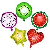 TOYANDONA5 Piezas Globos de Papel de Aluminio de 18 Pulgadas de Frutas de Helio para la decoración del Banquete de Boda de cumpleaños (sandía, Kiwi, Fruta del dragón, Fresa y Carambola)