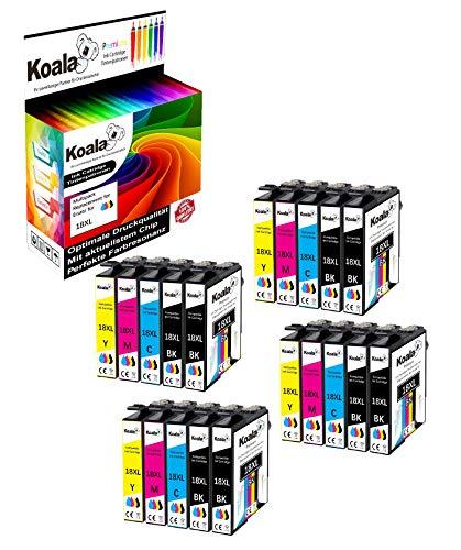 Koala 20 Druckerpatronen kompatibel für Epson 18XL T1811-T1814 für Epson XP-30 XP-102 XP-202 XP-305 XP-405 XP-205 XP-302 XP-402 XP-415 XP-412 XP-315 XP-312 XP-215 8*Schwarz 4*Cyan 4*Magenta 4*Gelb