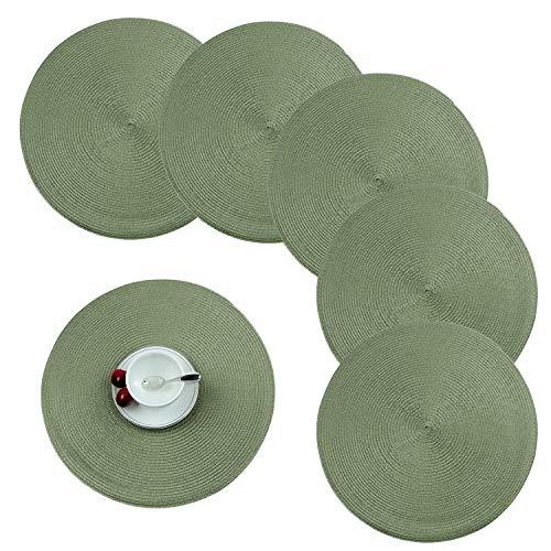 Homcomodar Platzsets Abwaschbar Rund 6er Set Tischsets Platzdeckchen Hitzebeständigeb für Küche Speisetisch Grün