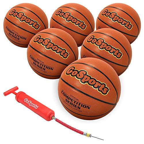 GoSports Interior/al Aire Libre Piel sintética Competencia Baloncesto 6Unidades con Bomba y Bolsa de Transporte, Competition Ball