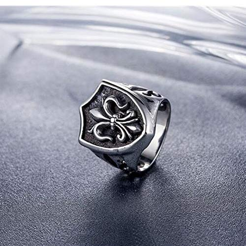 YangQianWen Anillo de la Flor de lis del Lirio ennegrecido sólida Plata de Ley 925 Ritter Flor de Plata Brillante