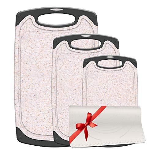 Gesentur 3er Schneidebrett Set, Schneidebretter Kunststoff mit Saftrillen rutschfest/Antibakteriell/BPA frei, mit Rutschfeste Silikonmatte