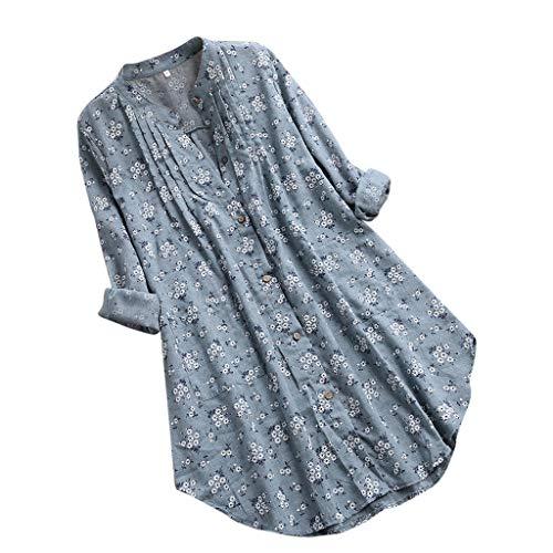 LOPILY Damen T-Shirt V-Ausschnitt Knopf Plissee Blumendruck LäSsige Tops Lose Tunika Bluse(Grün,DE-46/CN-3XL)