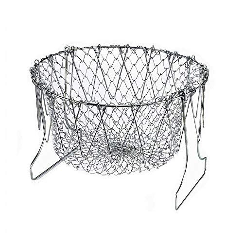 304 Stainless Steel Foldable Steam Rinse Strain Fry Basket Strainer Net Kitchen Cooking Tool for Fried Food or Fruits