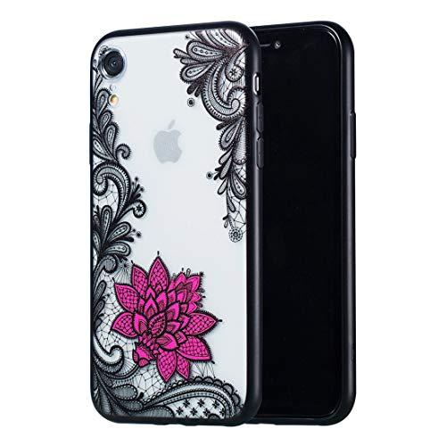 CHANYO Caso para el iPhone Teléfono XR Patrón Caja del teléfono móvil Lotus pequeña Caja de Relieve Lace + PC for el iPhone XR