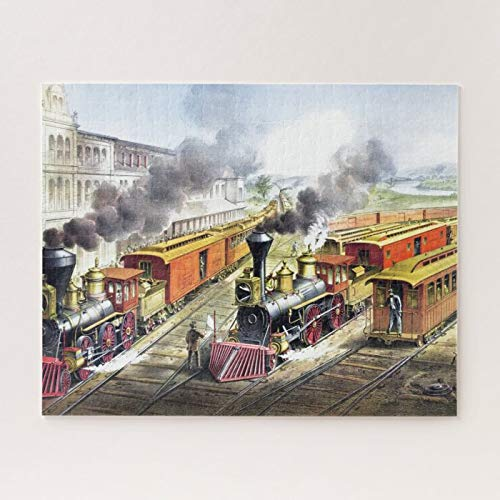 Wooden Jigsaw Puzzle 500 Piece for Adults, Vintage Steam Trains Travel Illustration Art Jigsaw Puzzle ame Toys ift Jigsaw Puzzle