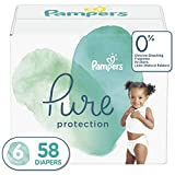Diapers Size 6, 58 Count - Pampers Pure Disposable Baby Diapers, Hypoallergenic and Unscented Protection, Giant Pack