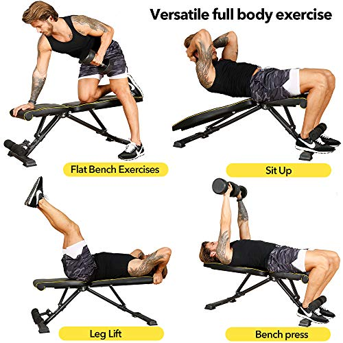 TELESPORT Exercise Bench for Home, Versatile Strength Training Bench for Full Body Exercise, Adjustable Dumbbells Bench, 600LBS Weight Capacity Incline Decline Bench Press