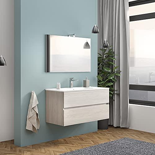 Mobile bagno sospeso moderno, 2 cassettoni capienti, INCLUDE lavabo in ceramica specchio e lampada (Larghezza 100 cm, Rovere Grigio)