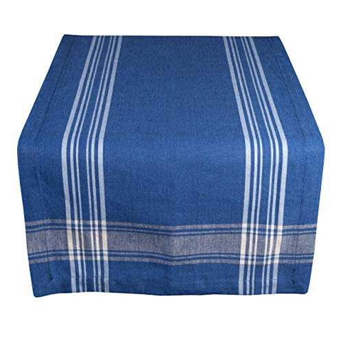 Yourtablecloth Striped Table Runner (Nautical Blue, 14 x 72)
